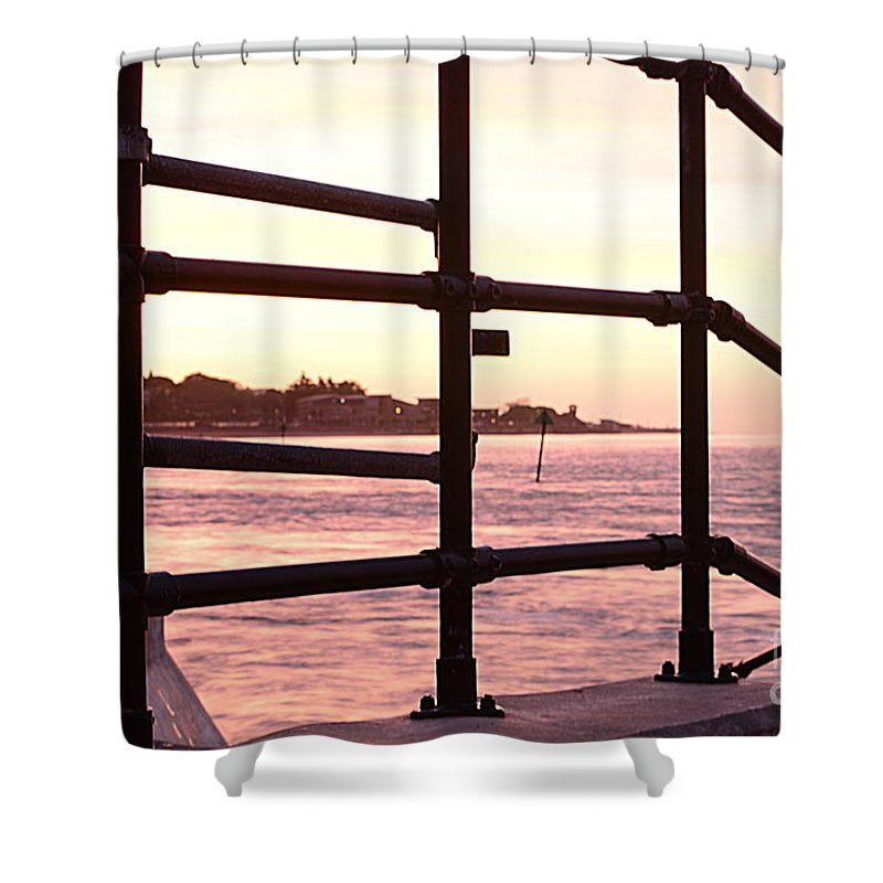 Railings Shower Curtain featuring the photograph Early Morning Railings by Andy Thompson