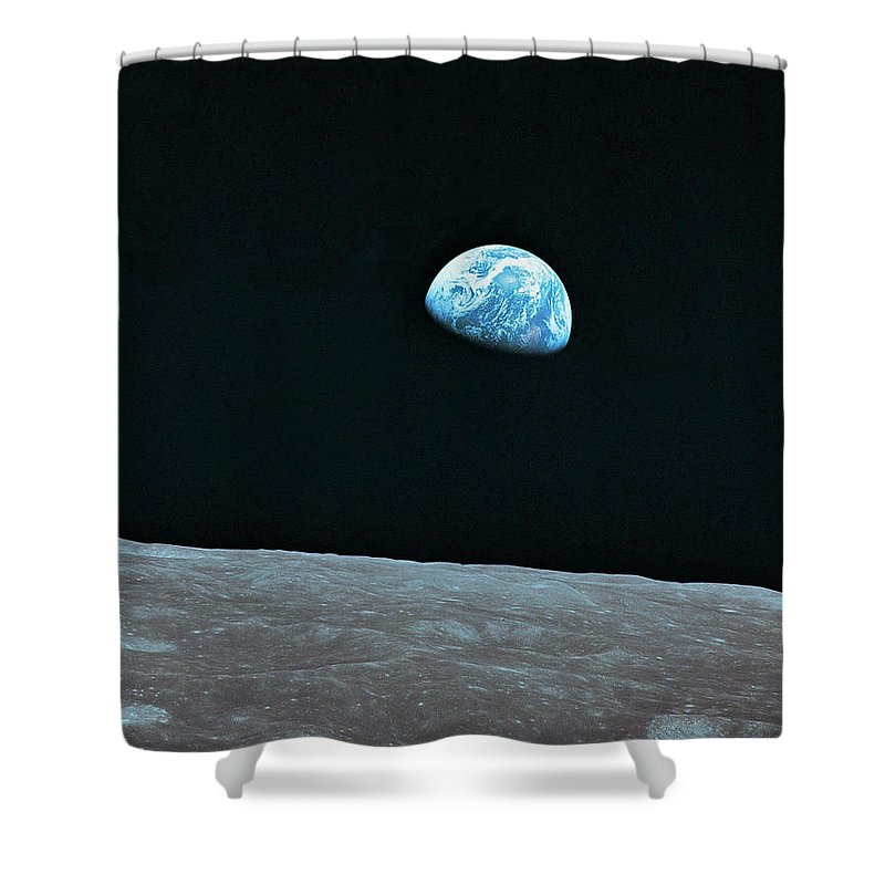 Black Color Shower Curtain featuring the photograph Earth And Lunar Landscape by Digital Vision.