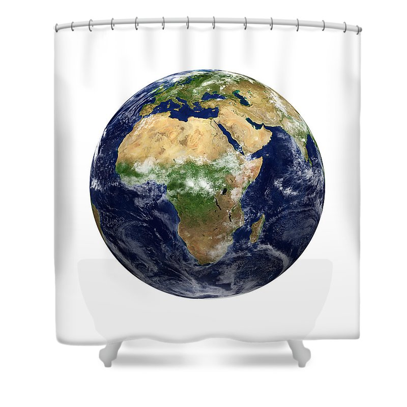 White Background Shower Curtain featuring the photograph Earth View - Africa by Kativ