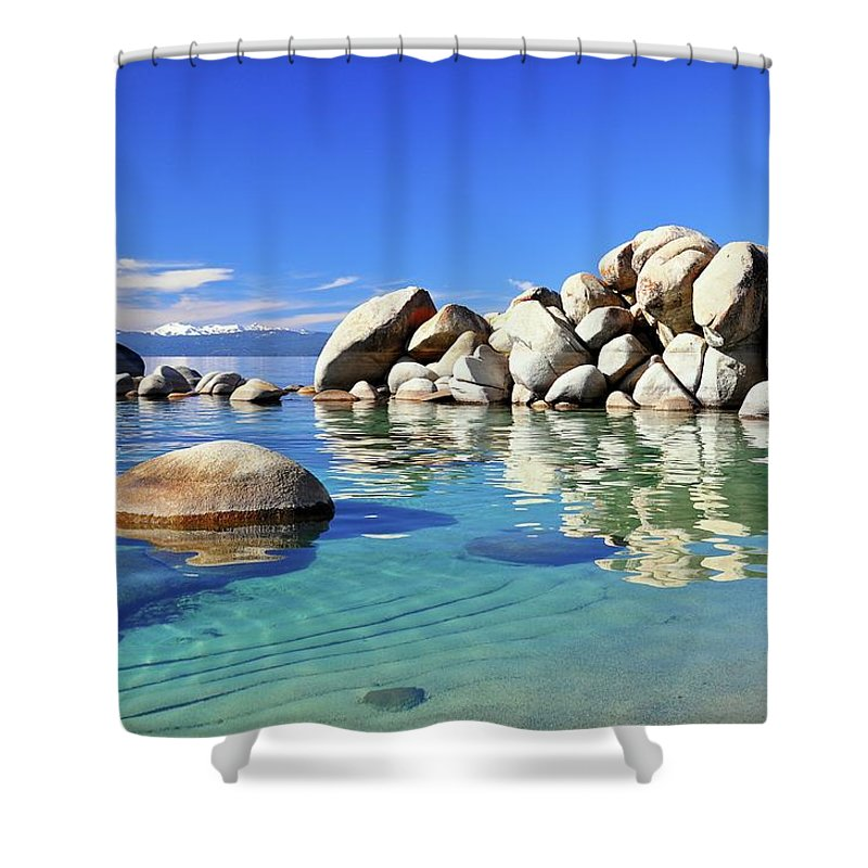 Tranquility Shower Curtain featuring the photograph East Shore, Lake Tahoe, Nv by Stevedunleavy.com