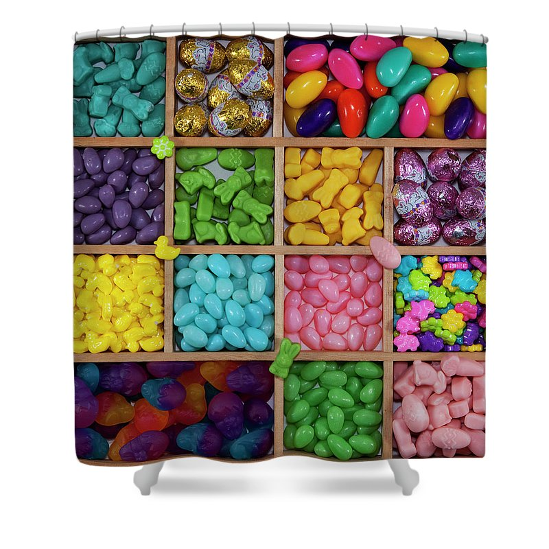 Unhealthy Eating Shower Curtain featuring the photograph Easter Candies by Lisa Stokes