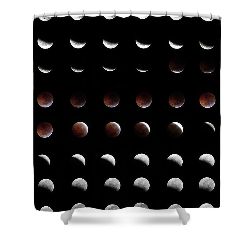 Event Shower Curtain featuring the photograph Eclipse, In All Phases Of The Moon by Arturogi