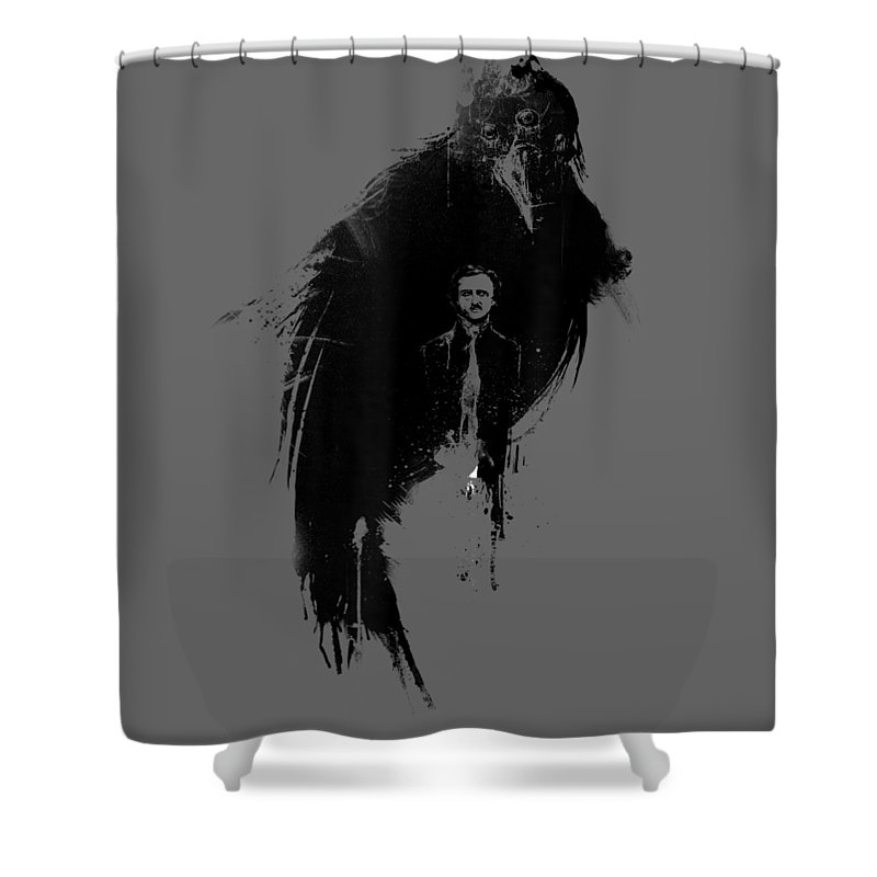 men's Novelty T-shirts Shower Curtain featuring the digital art Edgar Allan Poe The Raven Nevermore Tshirt by Do David