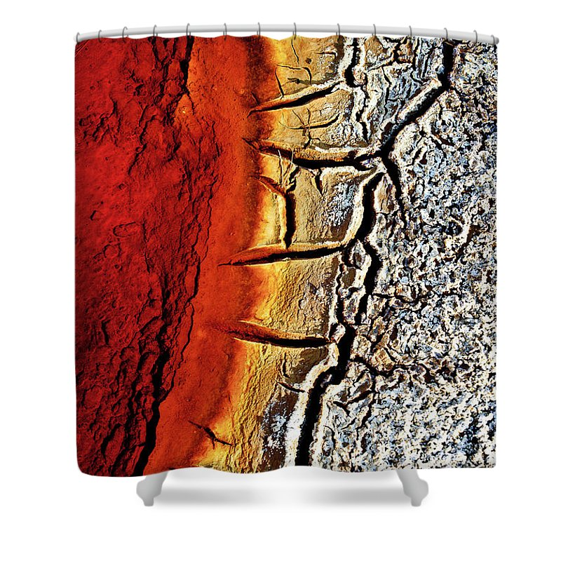 Outdoors Shower Curtain featuring the photograph Edge Of Pond In Rio Tinto Mining Area by Jjguisado