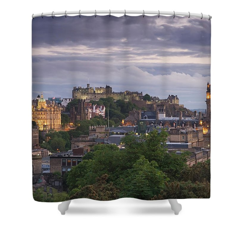 Lothian Shower Curtain featuring the photograph Edinburgh At Dusk by Northlightimages