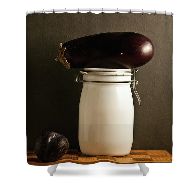 Plum Shower Curtain featuring the photograph Eggplant, Plum And Jar Still Life by Marilyn Conway