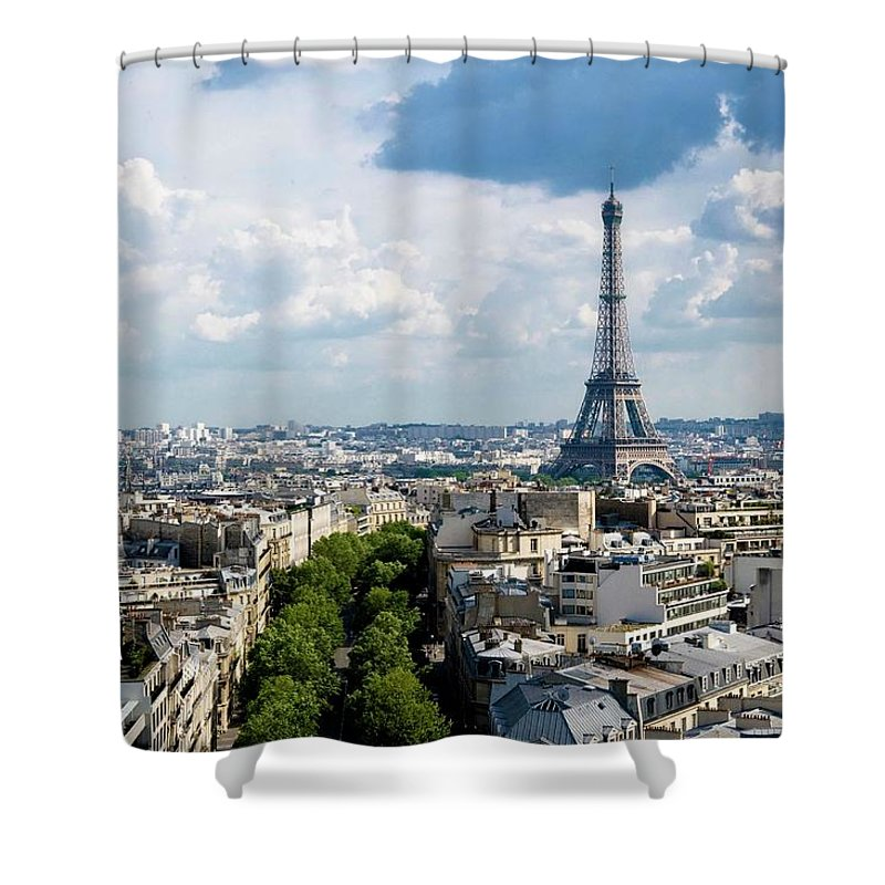 Eiffel Tower Shower Curtain featuring the photograph Eiffel Tower View From Arc De Triomphe by Keith Sherwood
