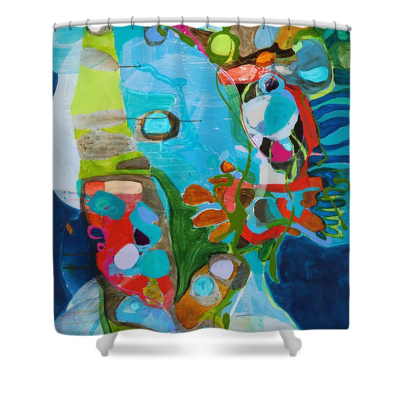 Abstract Shower Curtain featuring the painting El Arbol by Claire Desjardins