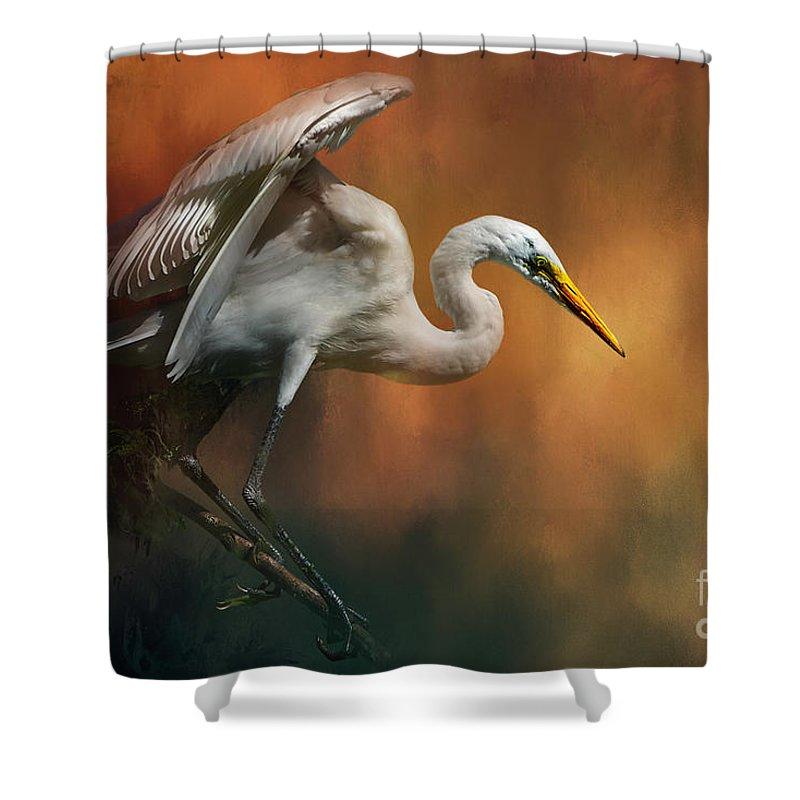 Bird Shower Curtain featuring the mixed media Elegance by Marvin Spates