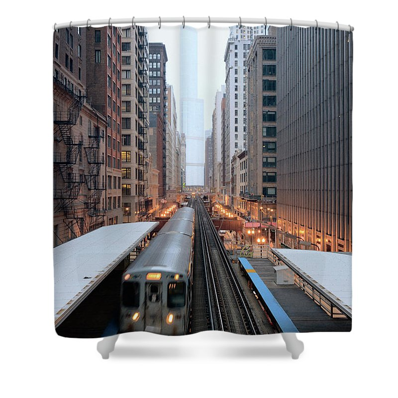 Downtown District Shower Curtain featuring the photograph Elevated Commuter Train In Chicago Loop by Photo By John Crouch