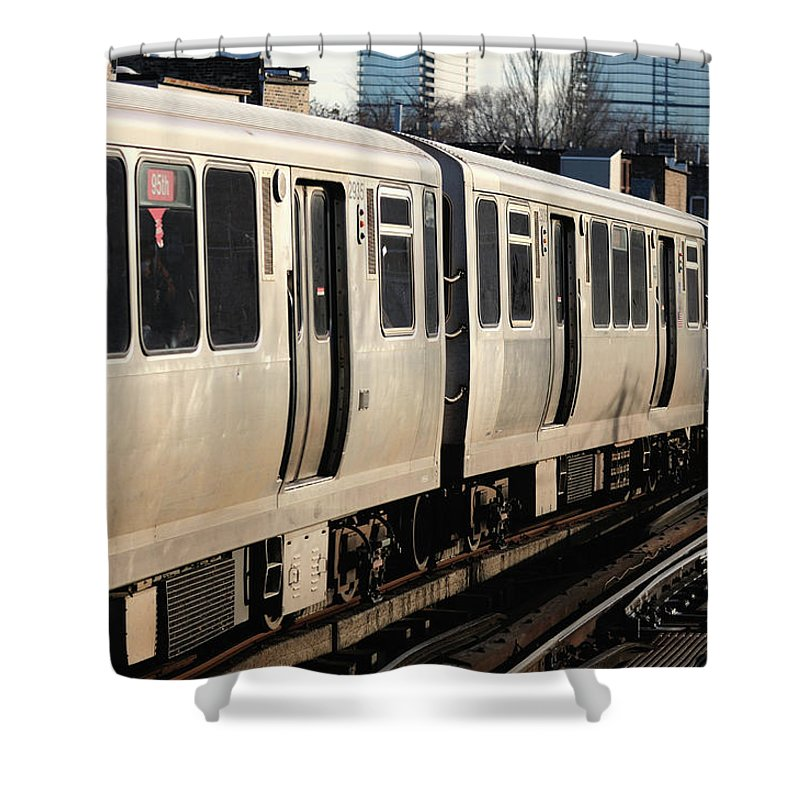Railroad Track Shower Curtain featuring the photograph Elevated Train Descends Into Subway by Bruce Leighty