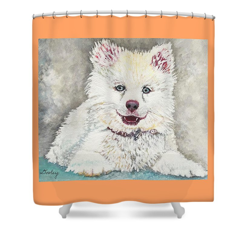 Dog Shower Curtain featuring the painting Elina by Edith Dooley