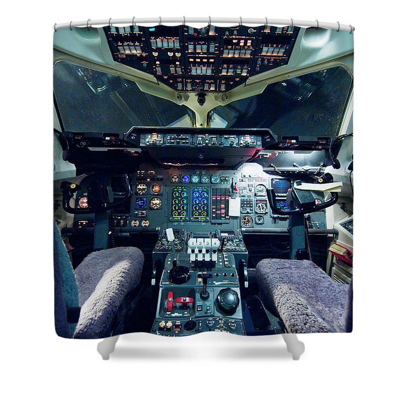 Cockpit Shower Curtain featuring the photograph Empty Aeroplane Cockpit by Moodboard