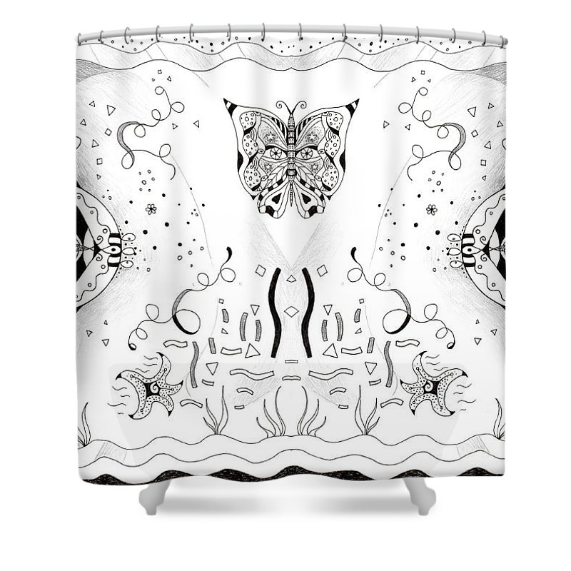 Endless Flow 3 By Helena Tiainen Shower Curtain featuring the drawing Endless Flow 3 by Helena Tiainen