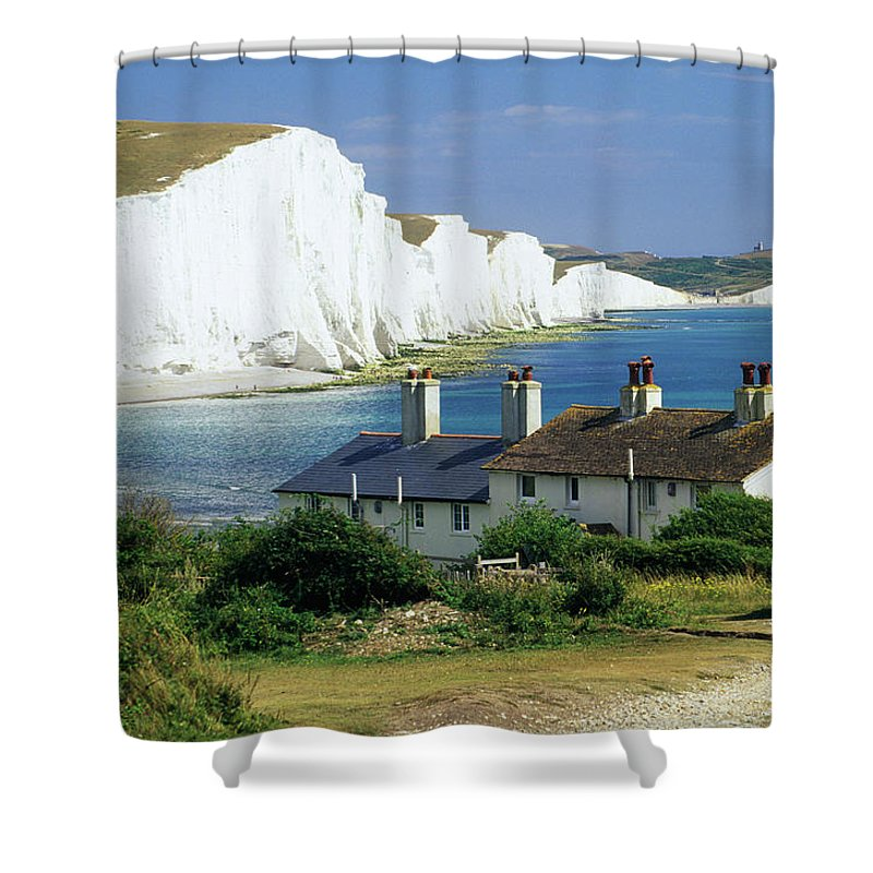 Scenics Shower Curtain featuring the photograph England, Sussex, Seven Sisters Cliffs by David C Tomlinson