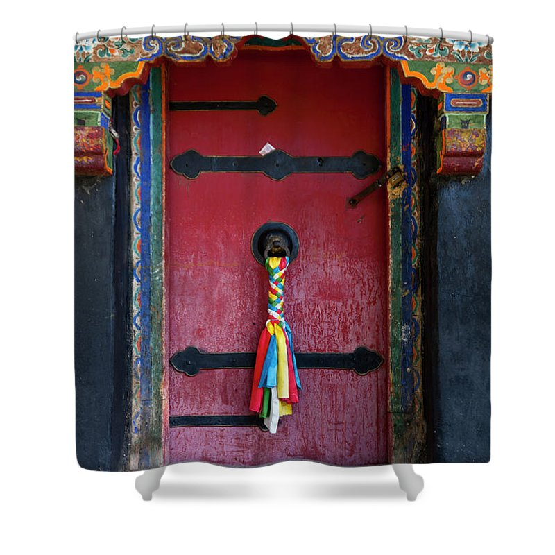 Chinese Culture Shower Curtain featuring the photograph Entrance To The Tibetan Monastery by Hanhanpeggy