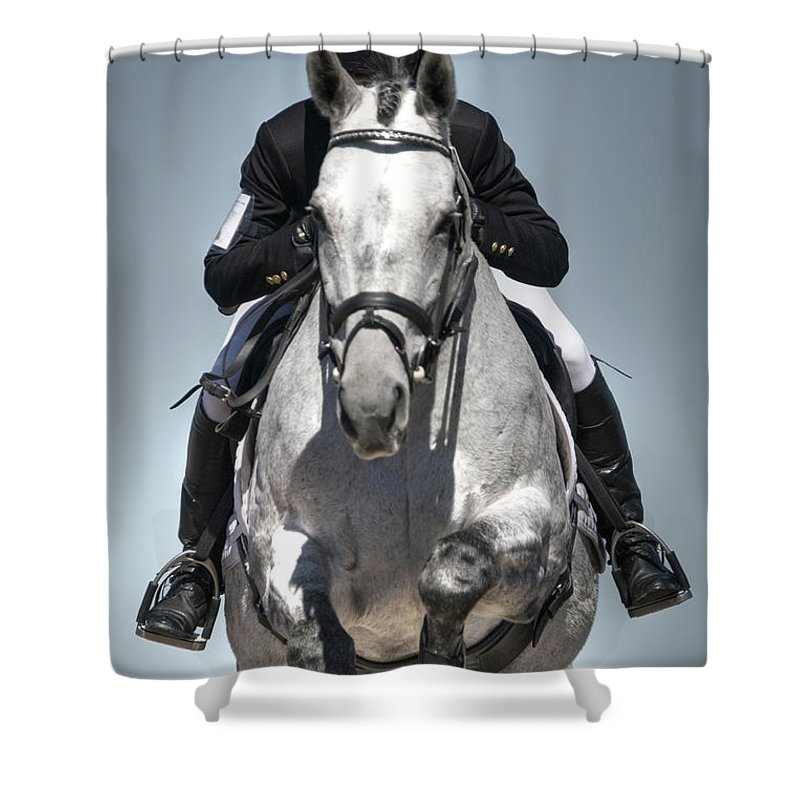 Horse Shower Curtain featuring the photograph Equestrian Jumper by Rhyman007