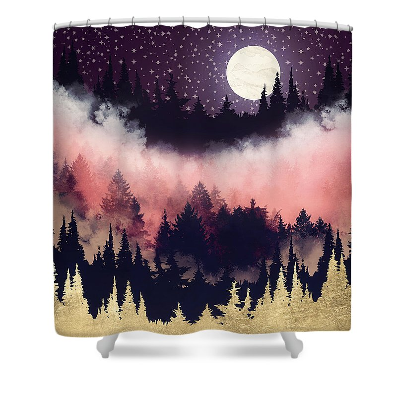 Forest Shower Curtain featuring the digital art Evening Glow by Spacefrog Designs