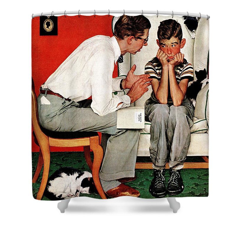 Boy Shower Curtain featuring the drawing Facts Of Life by Norman Rockwell