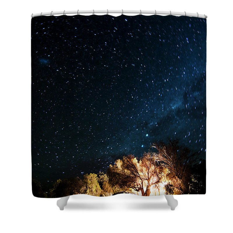 Northern Cape Province Shower Curtain featuring the photograph Farm House And Milky Way by Subman