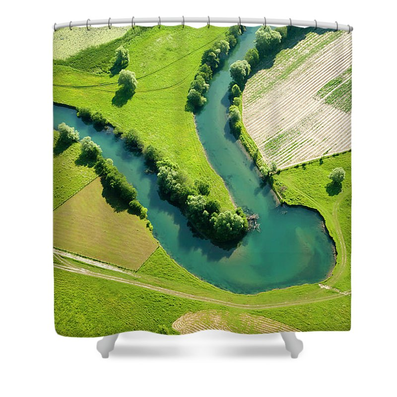 Scenics Shower Curtain featuring the photograph Farmland Patchwork, Aerial View by Vpopovic