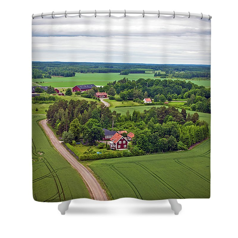 Scenics Shower Curtain featuring the photograph Farms And Fields In Sweden North Europe by Pavliha