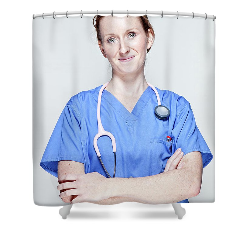 People Shower Curtain featuring the photograph Female Doctor by James Whitaker