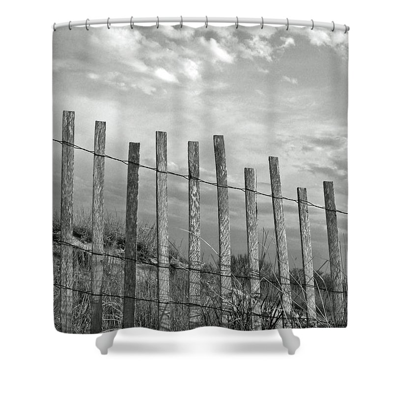 Tranquility Shower Curtain featuring the photograph Fence At Jones Beach State Park. New by Gary Koutsoubis