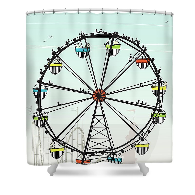 Grass Shower Curtain featuring the digital art Ferris Wheel by Jcgwakefield