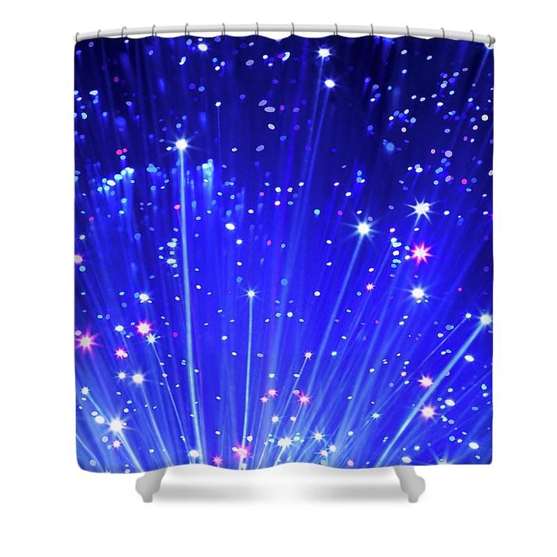Technology Shower Curtain featuring the photograph Fiber Optic Cables by Gandee Vasan
