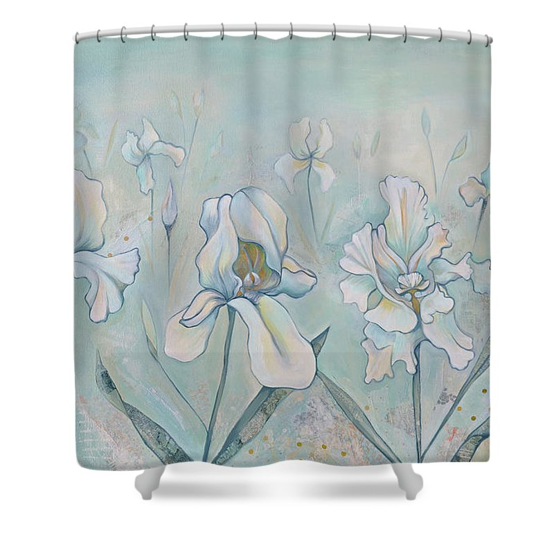 Iris Shower Curtain featuring the painting Field Of Whispers by Shadia Derbyshire