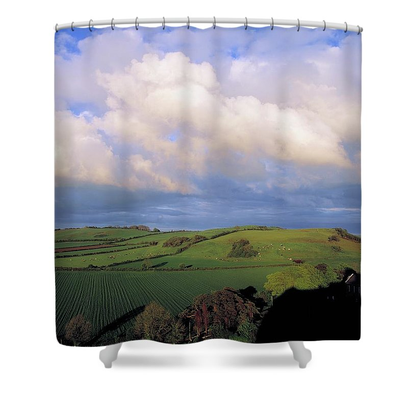 Tranquility Shower Curtain featuring the photograph Fields Around Dunamace, Co Laois by Design Pics
