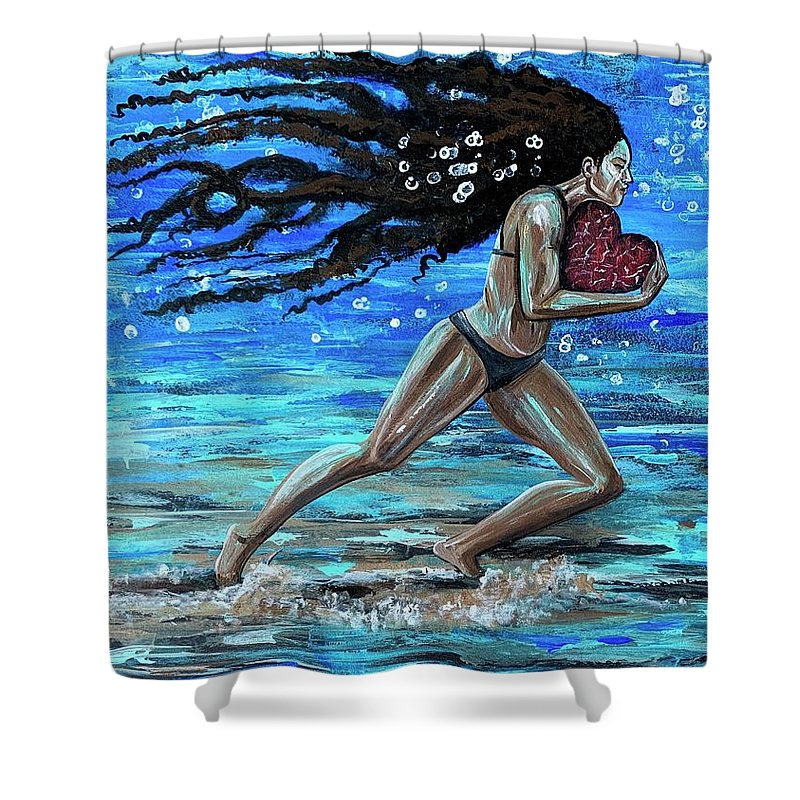 Runner Shower Curtain featuring the painting Fight the fine fight of the faith by Artist RiA