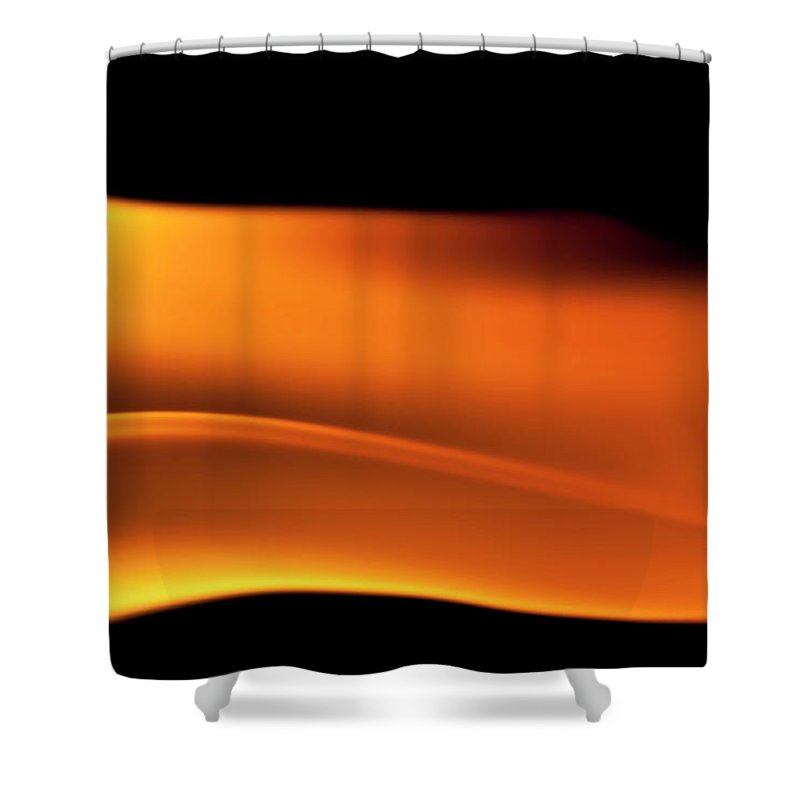 Orange Color Shower Curtain featuring the photograph Fire Burning, Flames On Black Background by Tttuna
