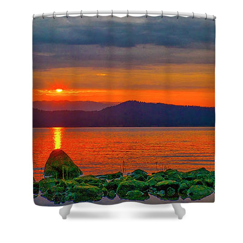 Lake Shower Curtain featuring the photograph Fire Rock by Tom Gresham