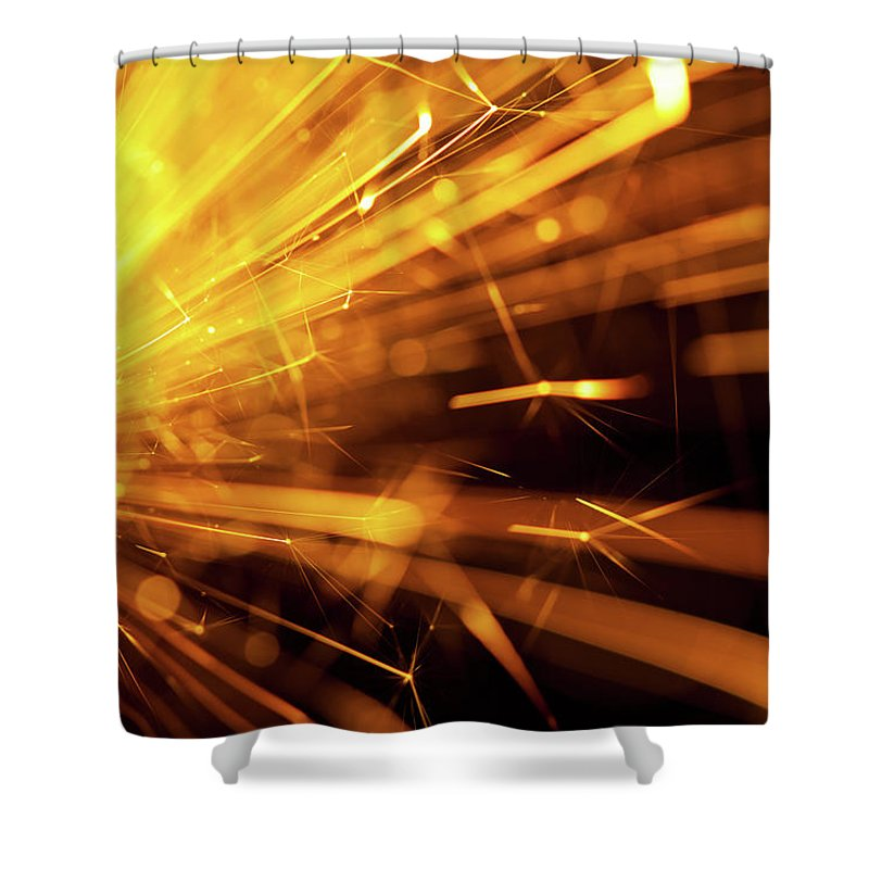 Funky Shower Curtain featuring the photograph Fire Sparkler by Nikada
