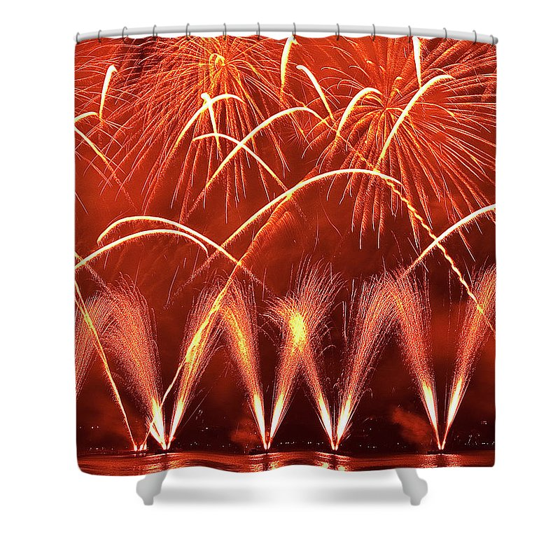 Firework Display Shower Curtain featuring the photograph Fireworks Over West Lake, Hangzhou by William Yu Photography