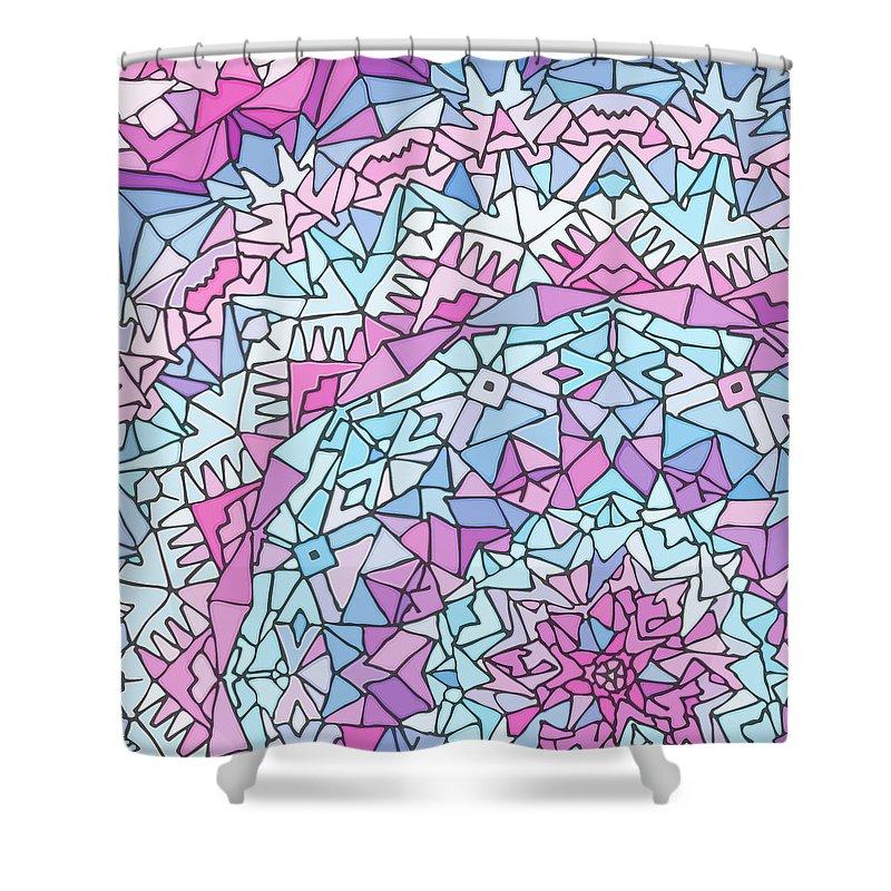 Mandala Shower Curtain featuring the digital art Comfortably Cosmic, in Lavendar by James Fryer