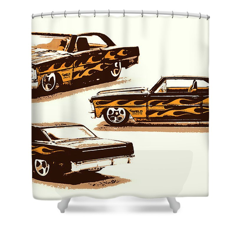 Chevy Shower Curtain featuring the photograph Flamin Chevrolet 66 Nova by Jorgo Photography - Wall Art Gallery