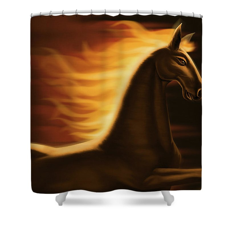 Horse Shower Curtain featuring the digital art Flaming Horse by Id-work