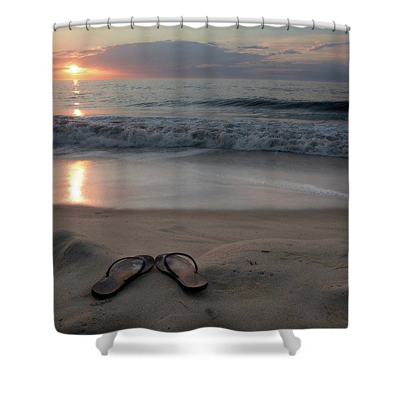 Water's Edge Shower Curtain featuring the photograph Flip-flops On The Beach by Sdominick