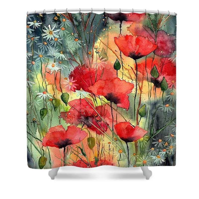 Cosmic Shower Curtain featuring the painting Floral Abracadabra by Suzann Sines