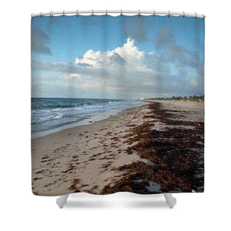Scenics Shower Curtain featuring the photograph Florida Beach With Gentle Waves And by Drnadig