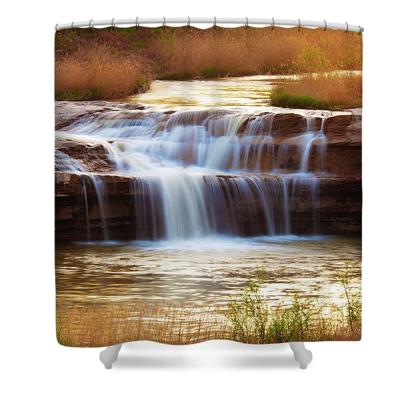 Scenics Shower Curtain featuring the photograph Flowing Water On The Yellow Rock by Xenotar