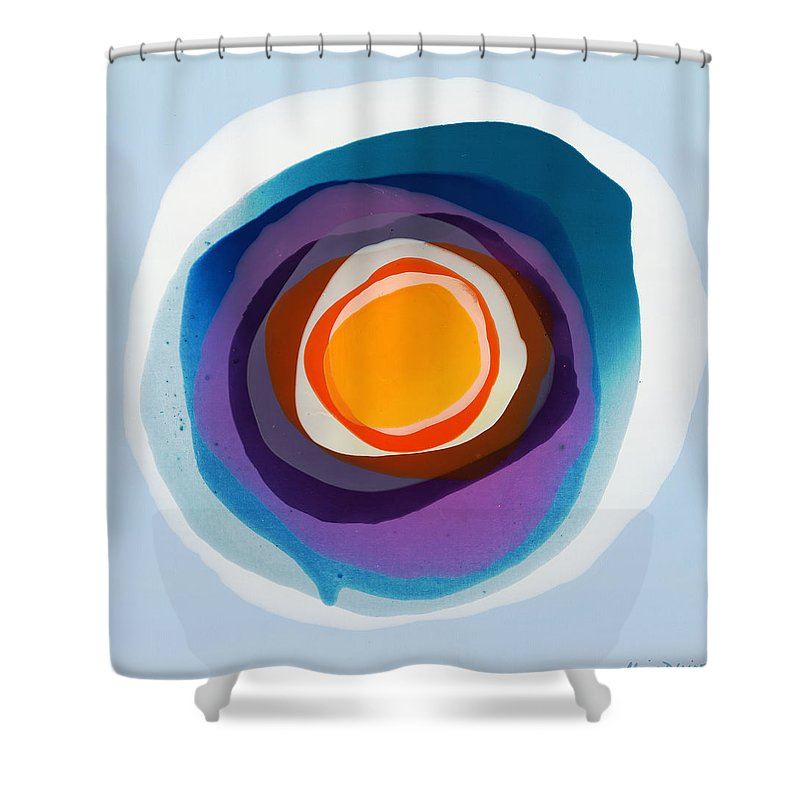 Abstract Shower Curtain featuring the painting Focussed by Claire Desjardins