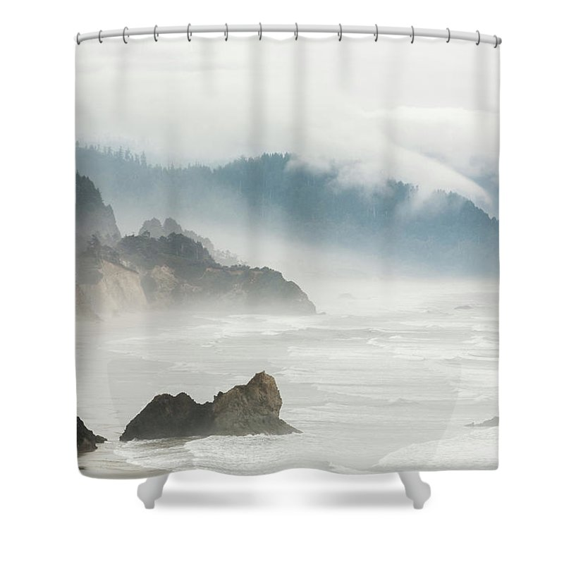Scenics Shower Curtain featuring the photograph Fog Shrouded View Of Rocky Coastline by Win-initiative
