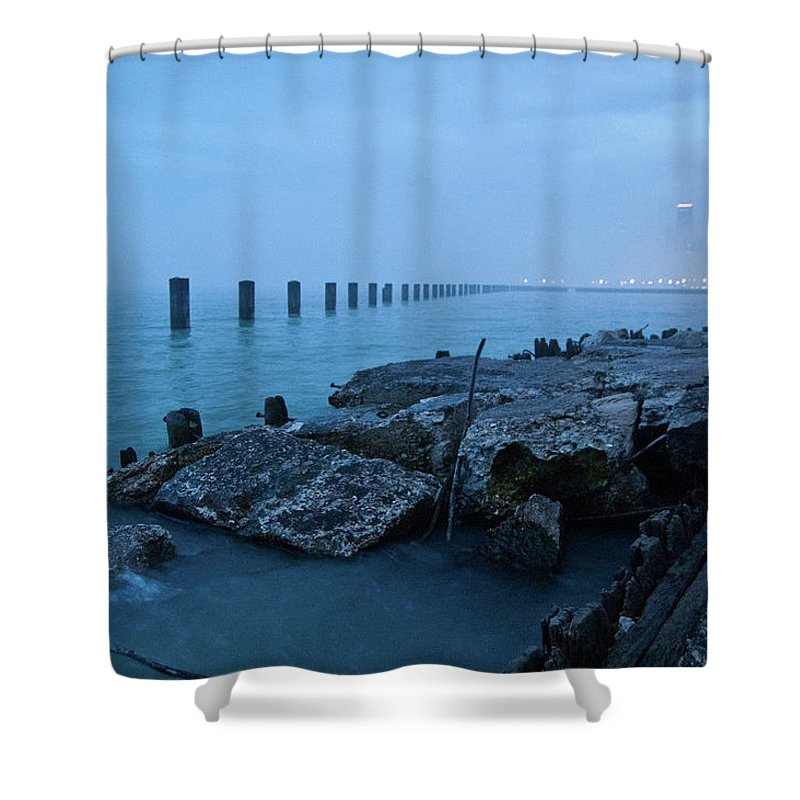 Lake Michigan Shower Curtain featuring the photograph Foggy View Of Chicago From Lakeshore by Megan Ahrens