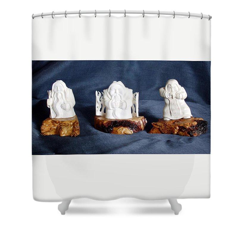 Handmade Shower Curtain featuring the sculpture Folk Music. Ethnic Song. Musician Sculpture by Pop Art