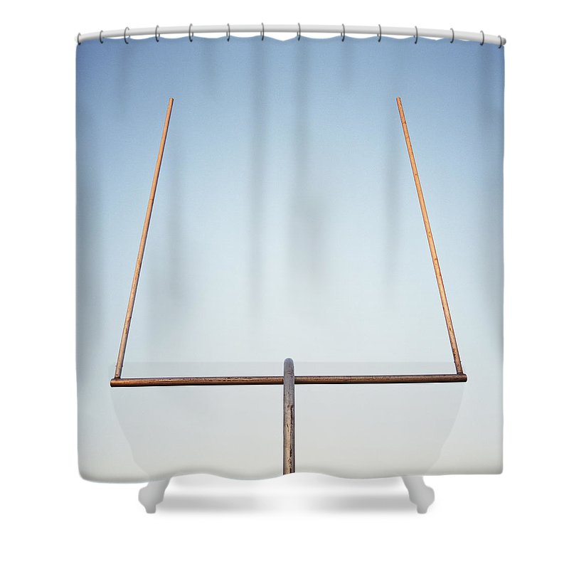 Goal Shower Curtain featuring the photograph Football Goal Post by Mike Powell