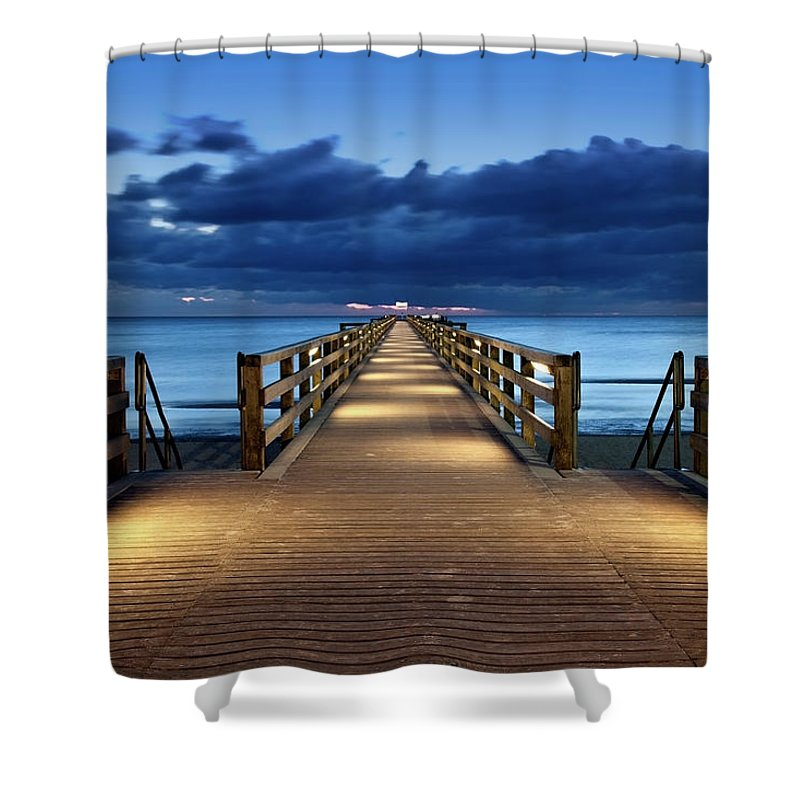 Water's Edge Shower Curtain featuring the photograph Footbridge by Bertlmann